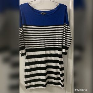 Express Black White Striped  Mini Dress